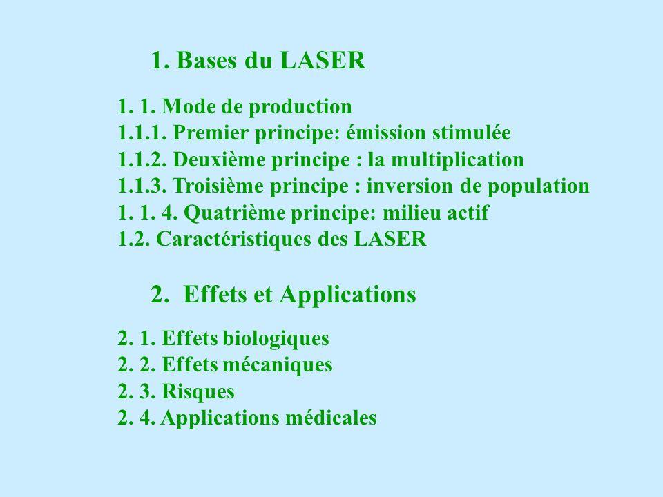 Conséquences de la cohérence du LASER 1) Faisceau unidirectionnel ou parallèle => la fluence I (et le débit de fluence İ ) sont constant Fluence I = quantité dénergie par unité de surface Débit de fluence İ = quantité dénergie par unité de surface et de temps
