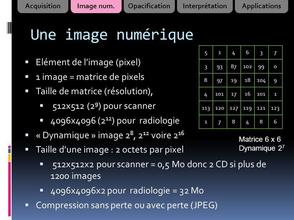 Une image numérique Elément de limage (pixel) 1 image = matrice de pixels Taille de matrice (résolution), 512x512 (2 9 ) pour scanner 4096x4096 (2 12