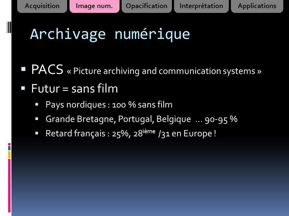 Archivage numérique PACS « Picture archiving and communication systems » Futur = sans film Pays nordiques : 100 % sans film Grande Bretagne, Portugal,