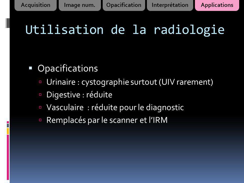 Utilisation de la radiologie Opacifications Urinaire : cystographie surtout (UIV rarement) Digestive : réduite Vasculaire : réduite pour le diagnostic