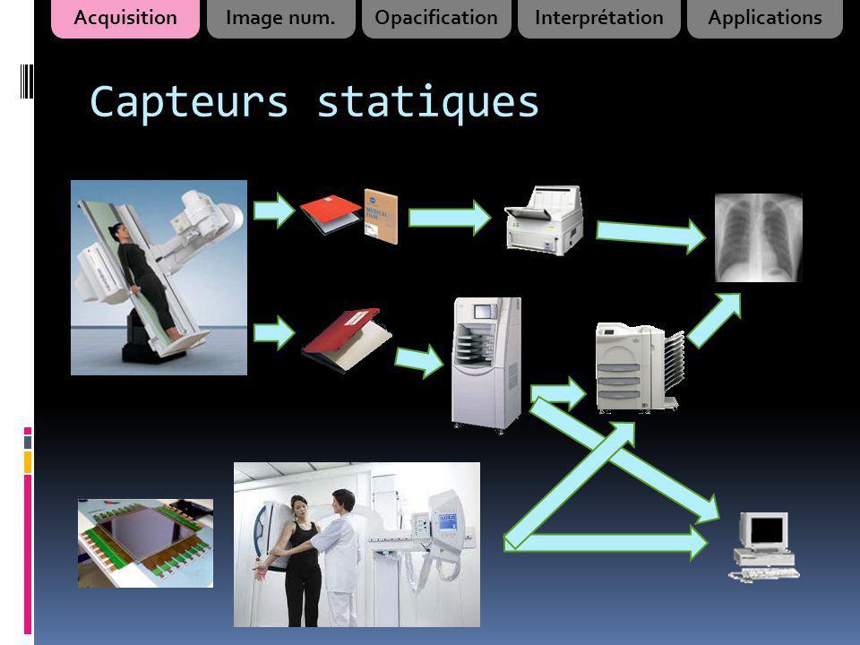 Capteurs dynamiques Opacifications digestives ou urinaires Guidage scopiqueAngiographie AcquisitionImage num.OpacificationInterprétationApplications