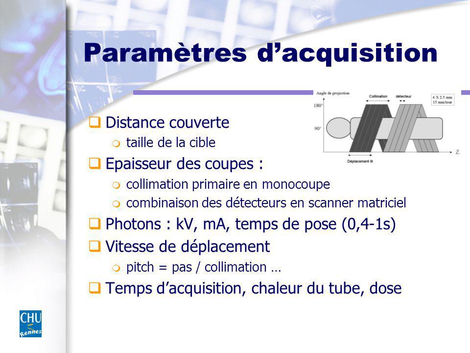 Paramètres dacquisition Distance couverte m taille de la cible Epaisseur des coupes : m collimation primaire en monocoupe m combinaison des détecteurs en scanner matriciel Photons : kV, mA, temps de pose (0,4-1s) Vitesse de déplacement m pitch = pas / collimation … Temps dacquisition, chaleur du tube, dose