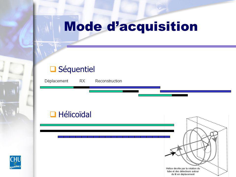 Tube et faisceau Tube m Capacité thermique : 5-7 MUC m Dissipation : 0,5 à 0,7 MUC / mn m Foyers Collimation, Géométrie Haute tension filtrée 100-140 kV, 100-400 mAs Vitesse de rotation