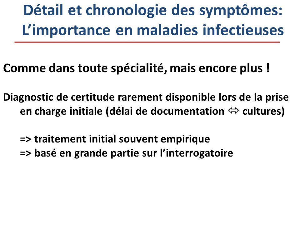 Détail et chronologie des symptômes: Limportance en maladies infectieuses Comme dans toute spécialité, mais encore plus ! Diagnostic de certitude rare