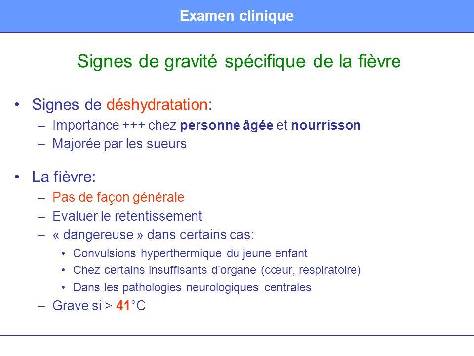Examen clinique Signes de gravité spécifique de la fièvre Signes de déshydratation: –Importance +++ chez personne âgée et nourrisson –Majorée par les