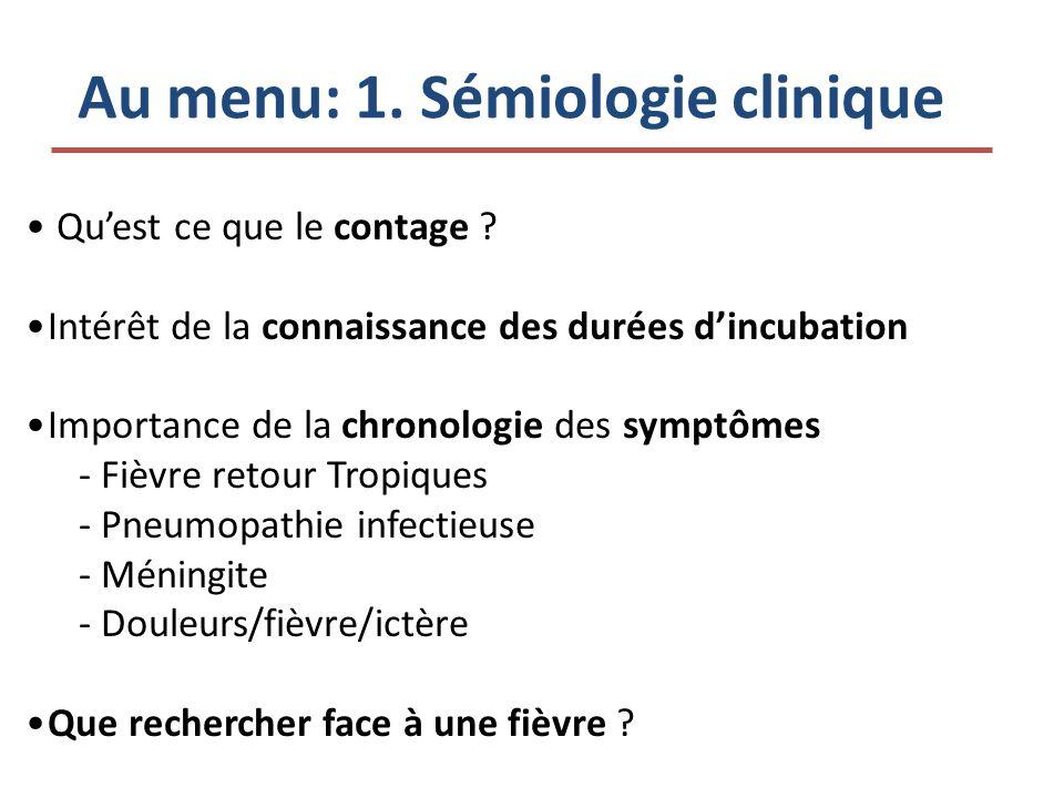 Au menu: 1. Sémiologie clinique Quest ce que le contage ? Intérêt de la connaissance des durées dincubation Importance de la chronologie des symptômes
