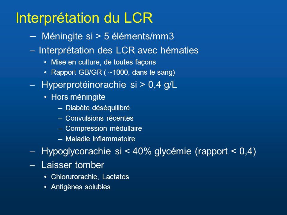 Interprétation du LCR – Méningite si > 5 éléments/mm3 –Interprétation des LCR avec hématies Mise en culture, de toutes façons Rapport GB/GR ( ~1000, d