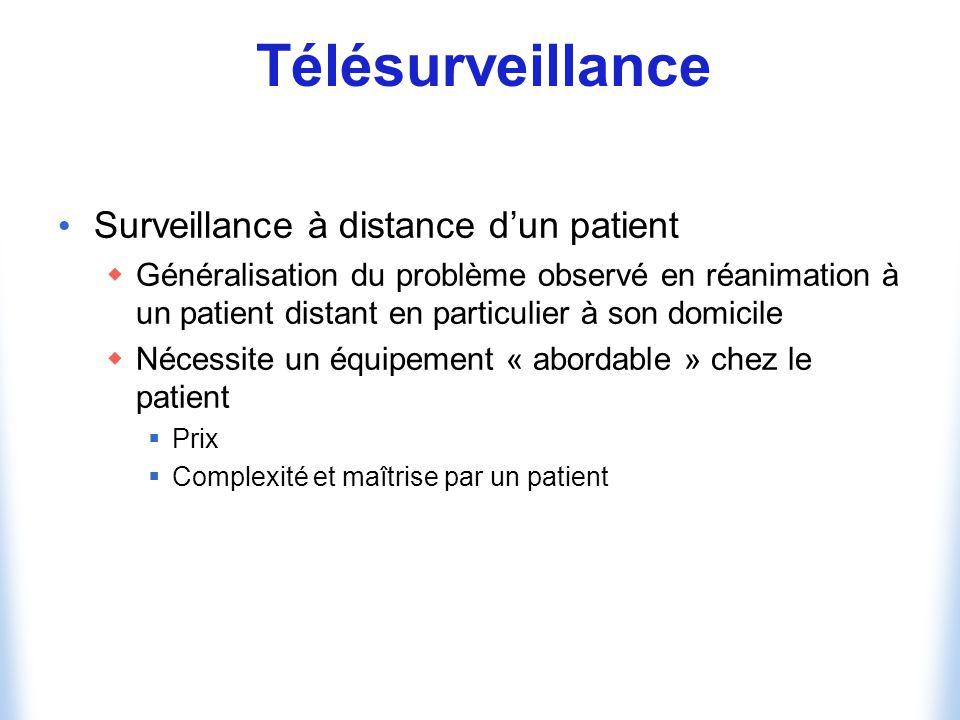 Télésurveillance Surveillance à distance dun patient Généralisation du problème observé en réanimation à un patient distant en particulier à son domicile Nécessite un équipement « abordable » chez le patient Prix Complexité et maîtrise par un patient