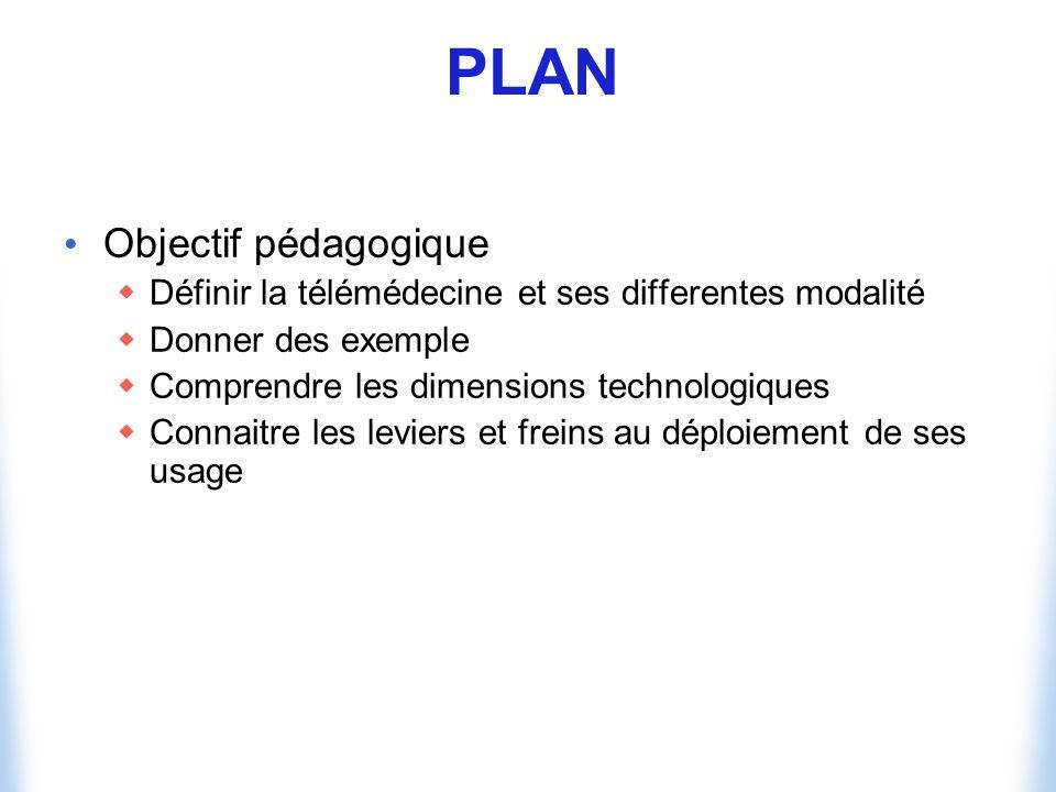 PLAN Objectif pédagogique Définir la télémédecine et ses differentes modalité Donner des exemple Comprendre les dimensions technologiques Connaitre les leviers et freins au déploiement de ses usage