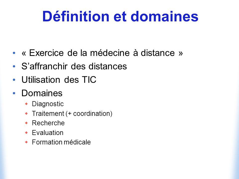Définition et domaines « Exercice de la médecine à distance » Saffranchir des distances Utilisation des TIC Domaines Diagnostic Traitement (+ coordination) Recherche Evaluation Formation médicale
