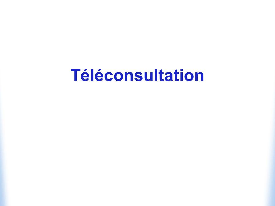 Possibilité pour un patient daccéder directement à distance à une consultation médicale ou paramédicale Moyens Utilisation du téléphone : exemple USA Utilisation dune salle de consultation virtuelle Attendus Diagnostic Prescription