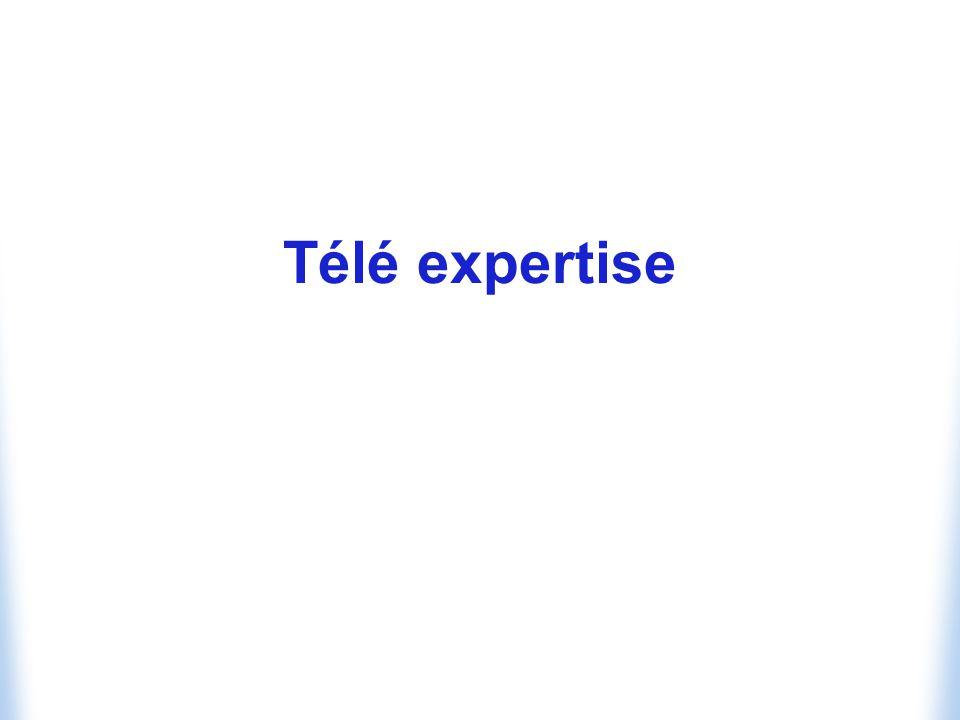 Possibilité pour un professionnel de santé dobtenir à distance un avis sur le cas dun patient Avec ou sans la participation du patient Nécessite le plus souvent la mise en commun du dossier médical multimédia du patient Texte : examens de biologie Images fixes : radiographies Images animées : échographies Sons : auscultation, doppler Télé-expertise en anatomopathologie Serait utilement accompagnée de télémanipulation Echographie
