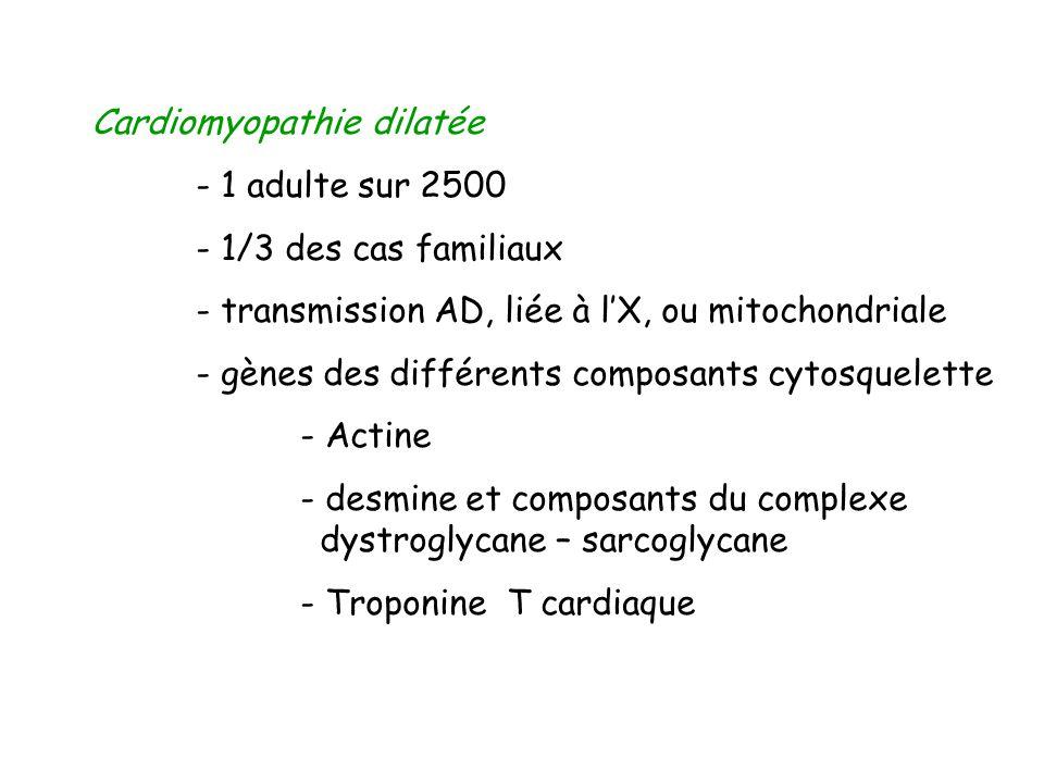 Cardiomyopathie dilatée - 1 adulte sur 2500 - 1/3 des cas familiaux - transmission AD, liée à lX, ou mitochondriale - gènes des différents composants
