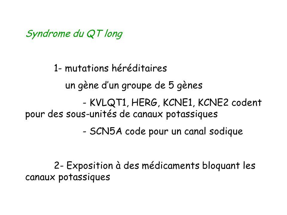 Syndrome du QT long 1- mutations héréditaires un gène dun groupe de 5 gènes - KVLQT1, HERG, KCNE1, KCNE2 codent pour des sous-unités de canaux potassi