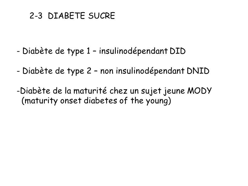 2-3 DIABETE SUCRE - Diabète de type 1 – insulinodépendant DID - Diabète de type 2 – non insulinodépendant DNID -Diabète de la maturité chez un sujet j
