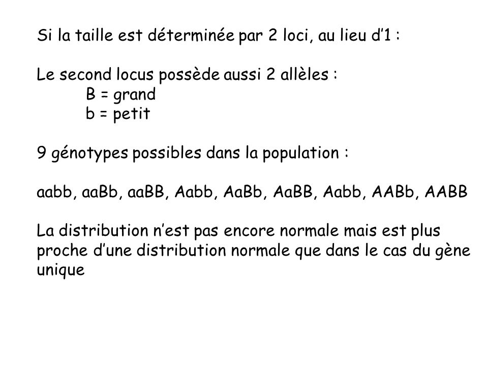Si la taille est déterminée par 2 loci, au lieu d1 : Le second locus possède aussi 2 allèles : B = grand b = petit 9 génotypes possibles dans la popul