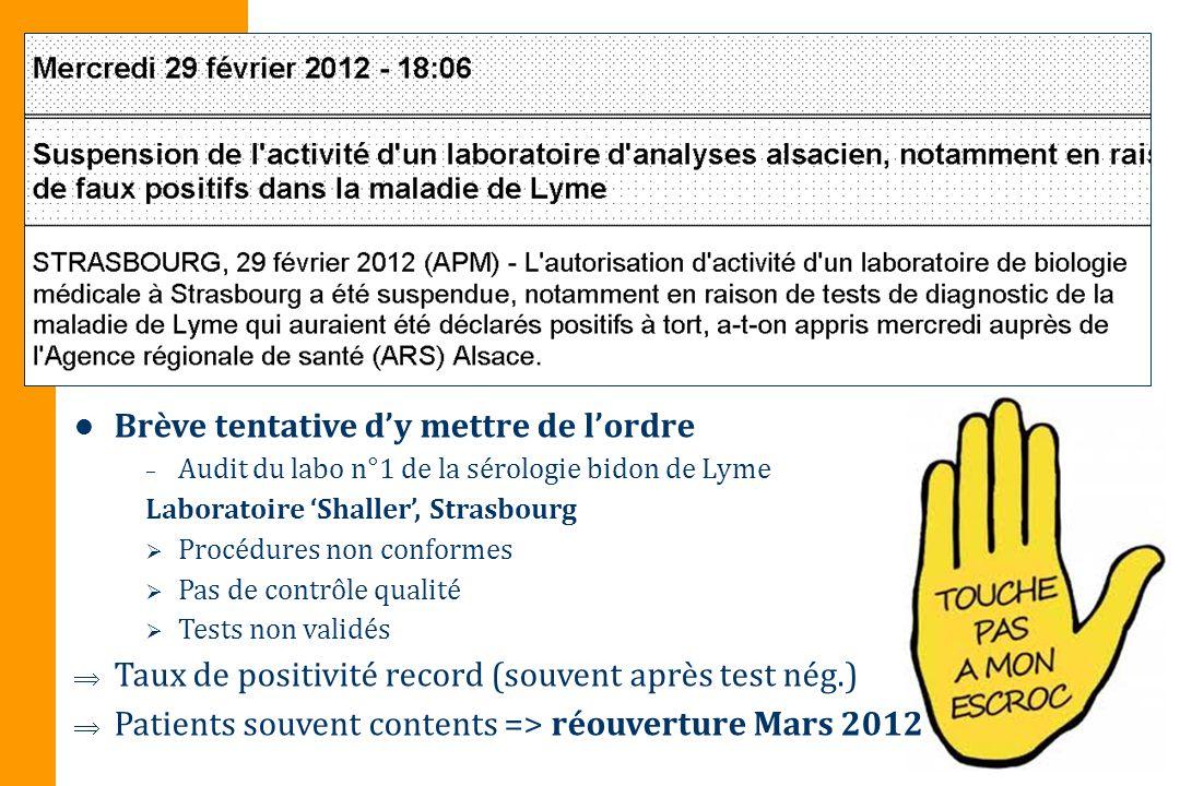 Brève tentative dy mettre de lordre – Audit du labo n°1 de la sérologie bidon de Lyme Laboratoire Shaller, Strasbourg Procédures non conformes Pas de