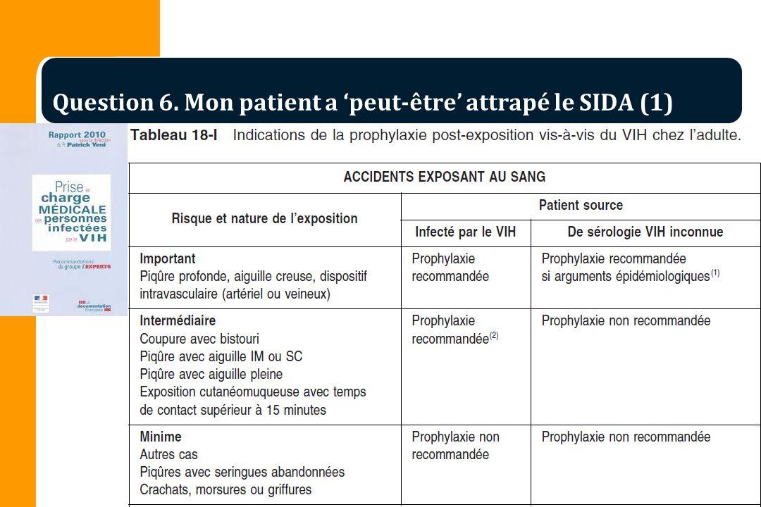 Question 6. Mon patient a peut-être attrapé le SIDA (1)