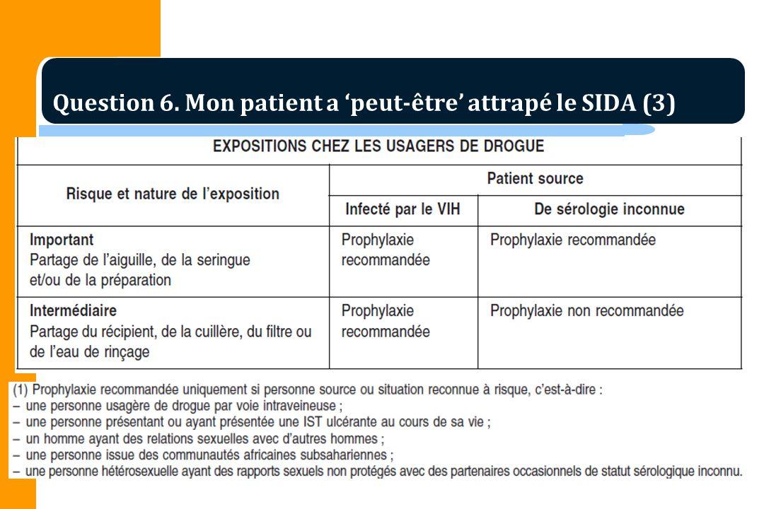 Question 6. Mon patient a peut-être attrapé le SIDA (3)