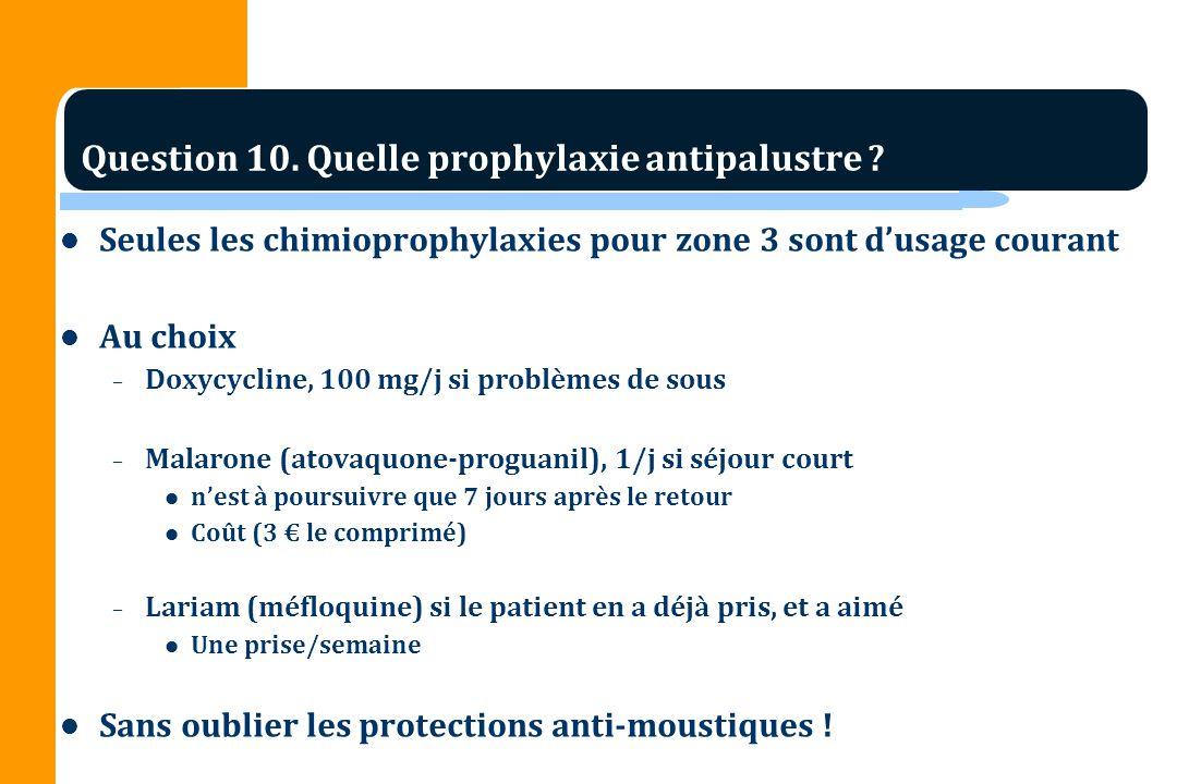 Seules les chimioprophylaxies pour zone 3 sont dusage courant Au choix – Doxycycline, 100 mg/j si problèmes de sous – Malarone (atovaquone-proguanil), 1/j si séjour court nest à poursuivre que 7 jours après le retour Coût (3 le comprimé) – Lariam (méfloquine) si le patient en a déjà pris, et a aimé Une prise/semaine Sans oublier les protections anti-moustiques .
