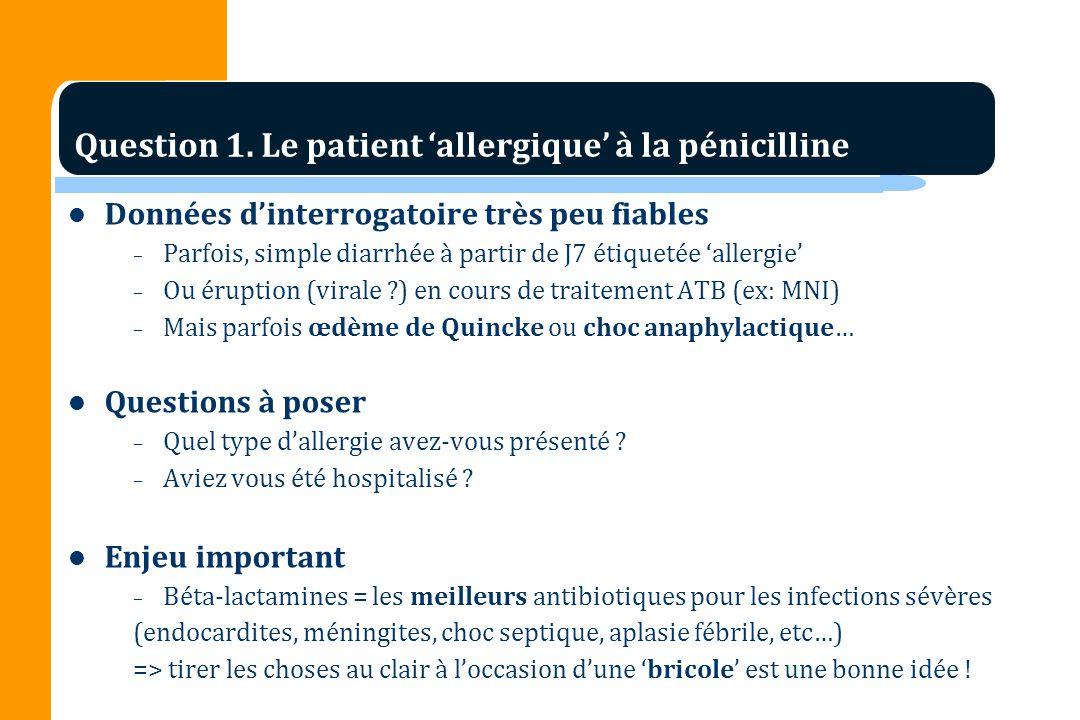 Données dinterrogatoire très peu fiables – Parfois, simple diarrhée à partir de J7 étiquetée allergie – Ou éruption (virale ?) en cours de traitement