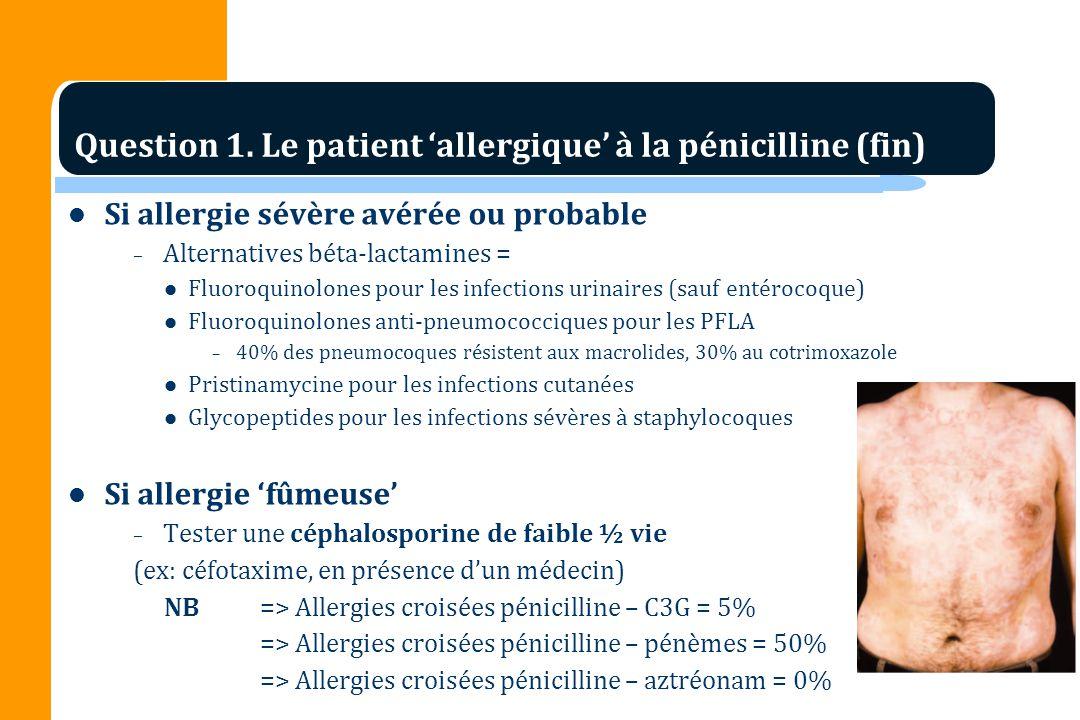 Si allergie sévère avérée ou probable – Alternatives béta-lactamines = Fluoroquinolones pour les infections urinaires (sauf entérocoque) Fluoroquinolo
