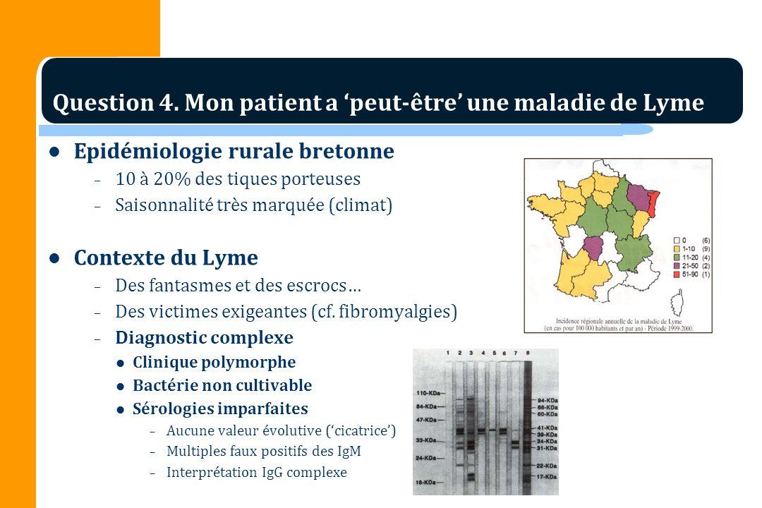 Epidémiologie rurale bretonne – 10 à 20% des tiques porteuses – Saisonnalité très marquée (climat) Contexte du Lyme – Des fantasmes et des escrocs… – Des victimes exigeantes (cf.