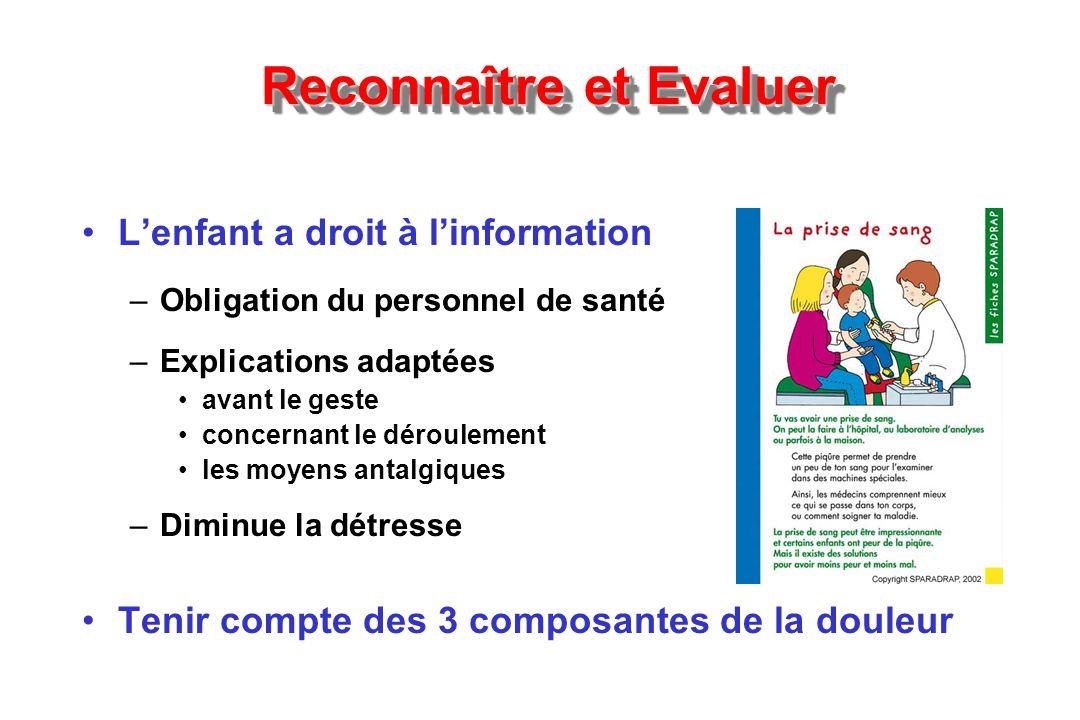 Reconnaître et Evaluer Lenfant a droit à linformation –Obligation du personnel de santé –Explications adaptées avant le geste concernant le déroulemen
