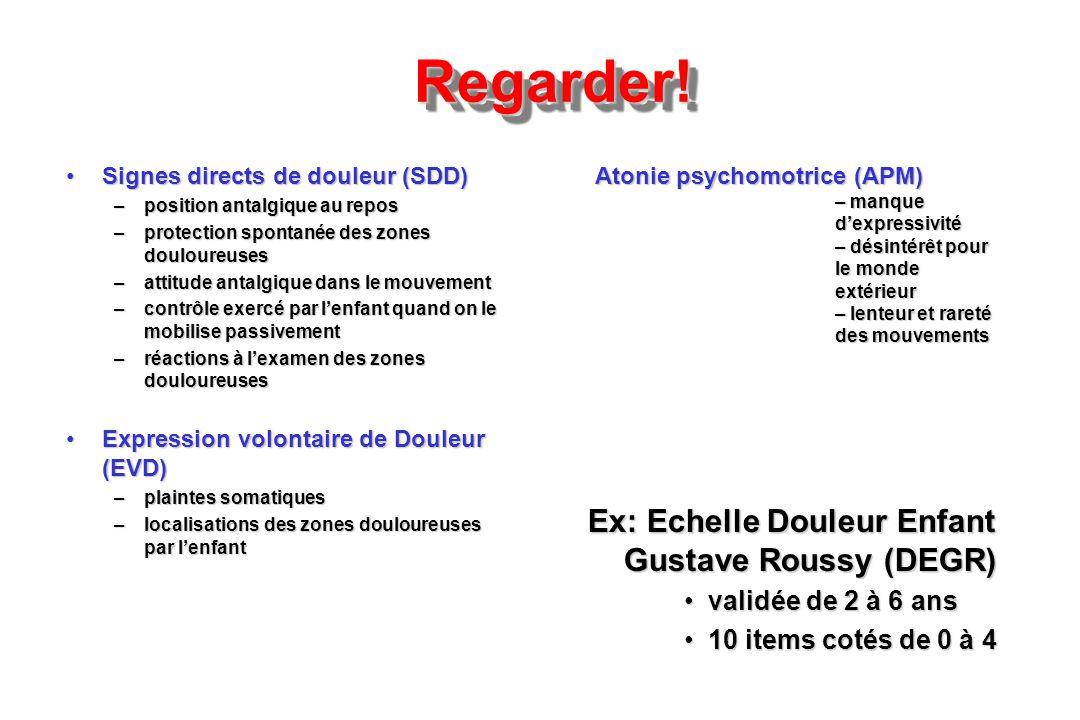 Regarder!Regarder! Ex: Echelle Douleur Enfant Gustave Roussy (DEGR) validée de 2 à 6 ansvalidée de 2 à 6 ans 10 items cotés de 0 à 410 items cotés de
