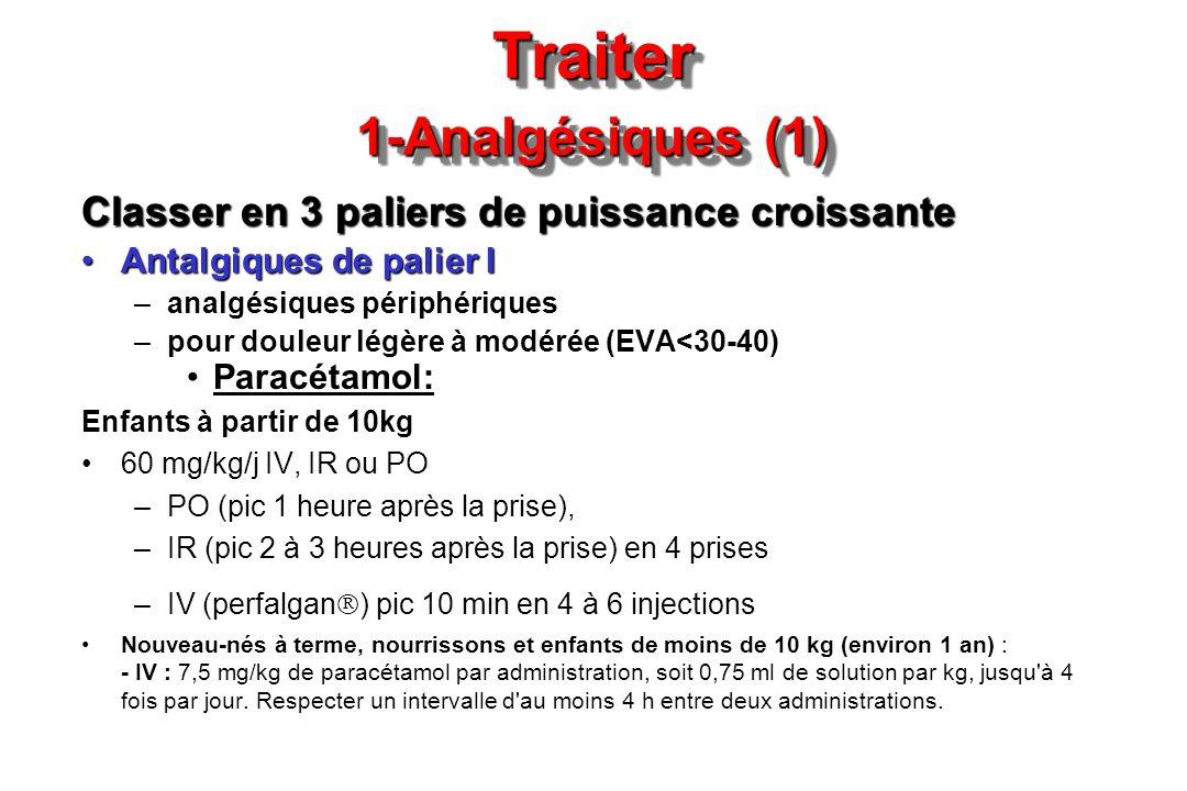 Traiter 1-Analgésiques (1) Classer en 3 paliers de puissance croissante Antalgiques de palier IAntalgiques de palier I –analgésiques périphériques –po