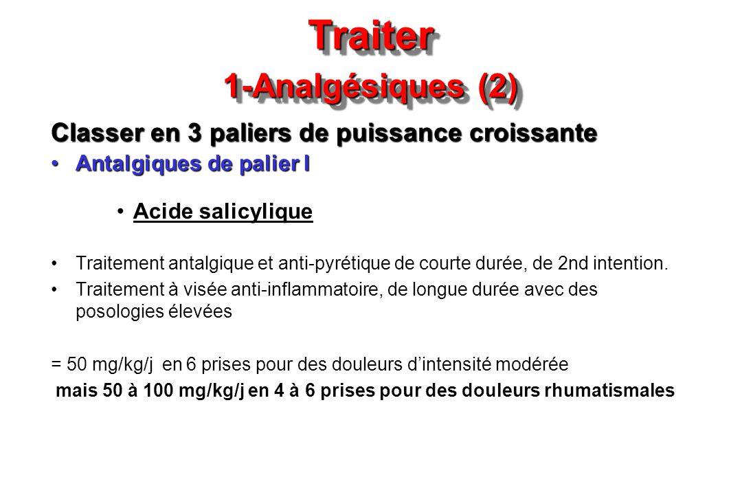 Traiter 1-Analgésiques (2) Classer en 3 paliers de puissance croissante Antalgiques de palier IAntalgiques de palier I Acide salicylique Traitement an