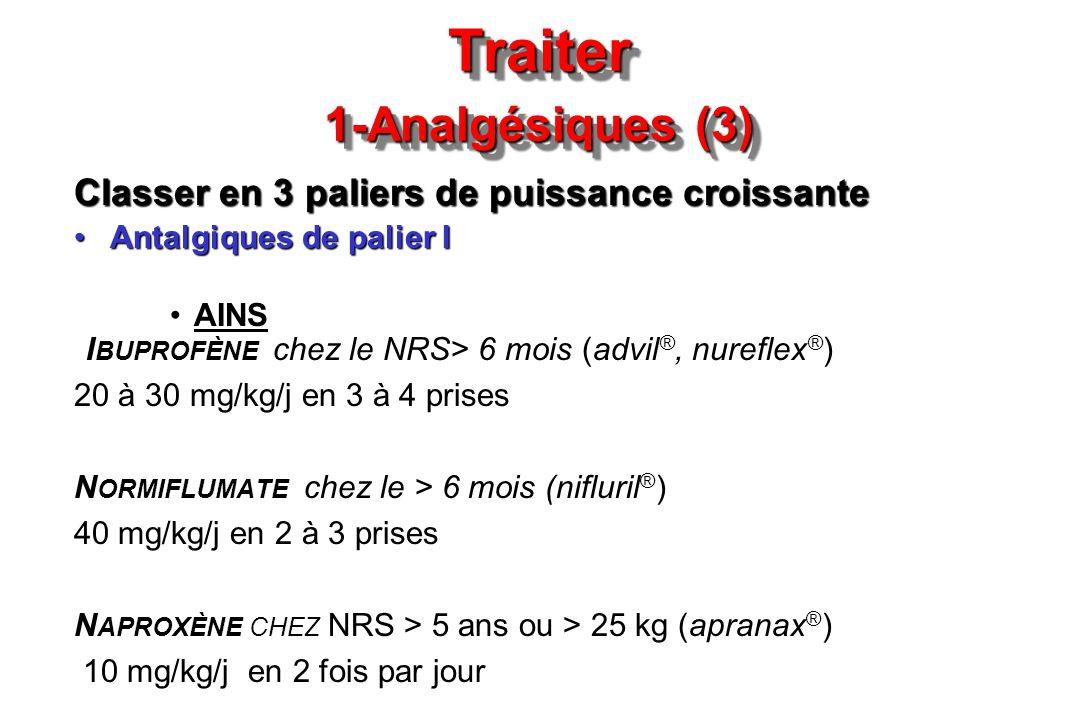 Traiter 1-Analgésiques (3) Classer en 3 paliers de puissance croissante Antalgiques de palier IAntalgiques de palier I AINS I BUPROFÈNE chez le NRS> 6