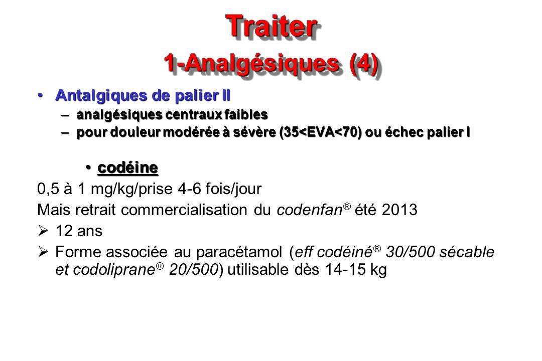 Traiter 1-Analgésiques (4) Antalgiques de palier IIAntalgiques de palier II –analgésiques centraux faibles –pour douleur modérée à sévère (35<EVA<70)