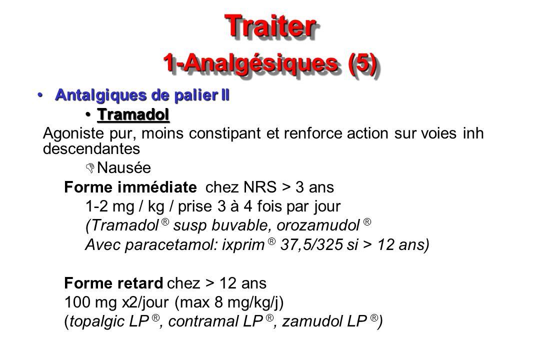 Traiter 1-Analgésiques (5) Antalgiques de palier IIAntalgiques de palier II TramadolTramadol Agoniste pur, moins constipant et renforce action sur voi