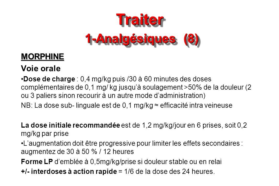 Traiter 1-Analgésiques (8) MORPHINE Voie orale Dose de charge : 0,4 mg/kg puis /30 à 60 minutes des doses complémentaires de 0,1 mg/ kg jusquà soulage