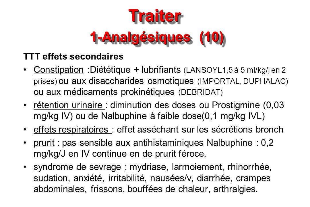 Traiter 1-Analgésiques (10) TTT effets secondaires Constipation :Diététique + lubrifiants (LANSOYL1,5 à 5 ml/kg/j en 2 prises) ou aux disaccharides os