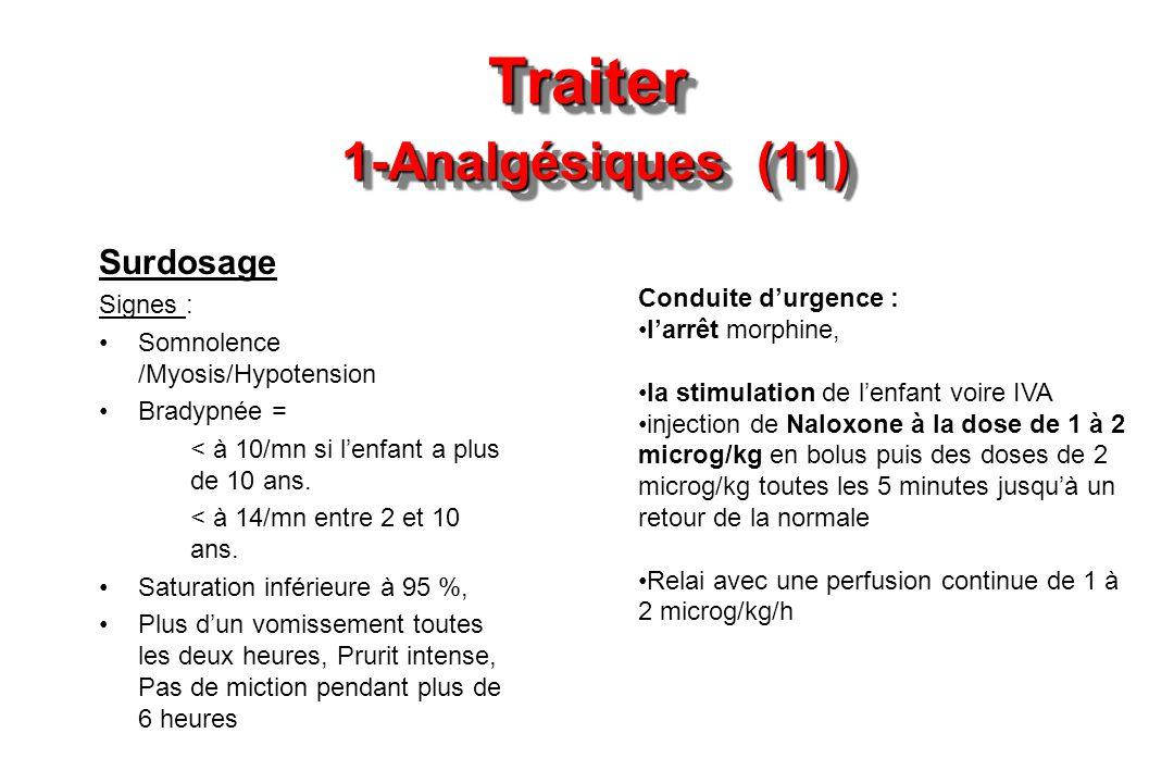 Traiter 1-Analgésiques (11) Surdosage Signes : Somnolence /Myosis/Hypotension Bradypnée = < à 10/mn si lenfant a plus de 10 ans. < à 14/mn entre 2 et