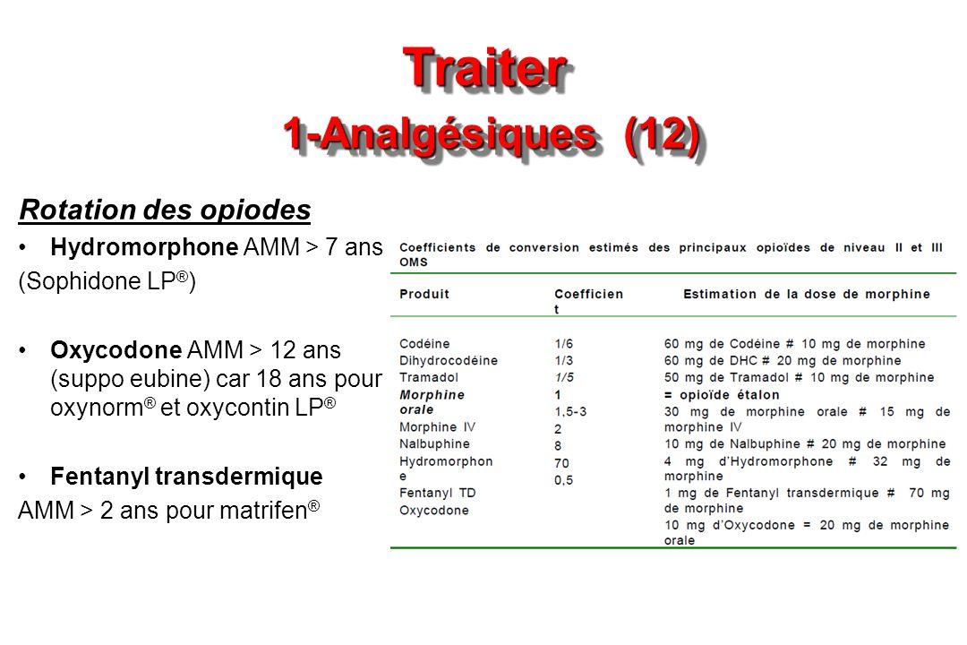 Traiter 1-Analgésiques (12) Rotation des opiodes Hydromorphone AMM > 7 ans (Sophidone LP ® ) Oxycodone AMM > 12 ans (suppo eubine) car 18 ans pour oxy