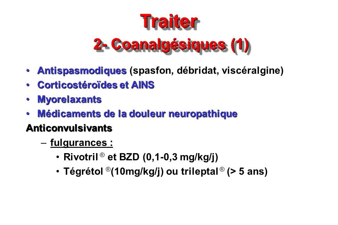 Traiter 2- Coanalgésiques (1) AntispasmodiquesAntispasmodiques (spasfon, débridat, viscéralgine) Corticostéroïdes et AINSCorticostéroïdes et AINS Myor