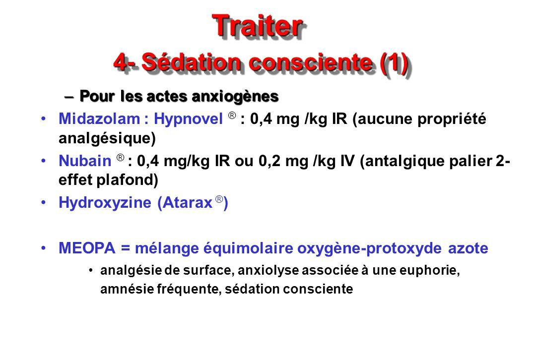 Traiter 4- Sédation consciente (1) –Pour les actes anxiogènes Midazolam : Hypnovel ® : 0,4 mg /kg IR (aucune propriété analgésique) Nubain ® : 0,4 mg/