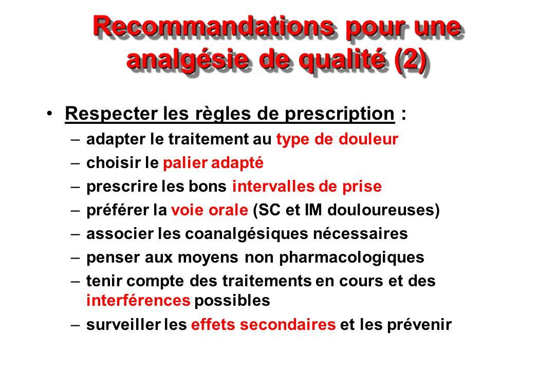 Recommandations pour une analgésie de qualité (2) Respecter les règles de prescription : –adapter le traitement au type de douleur –choisir le palier
