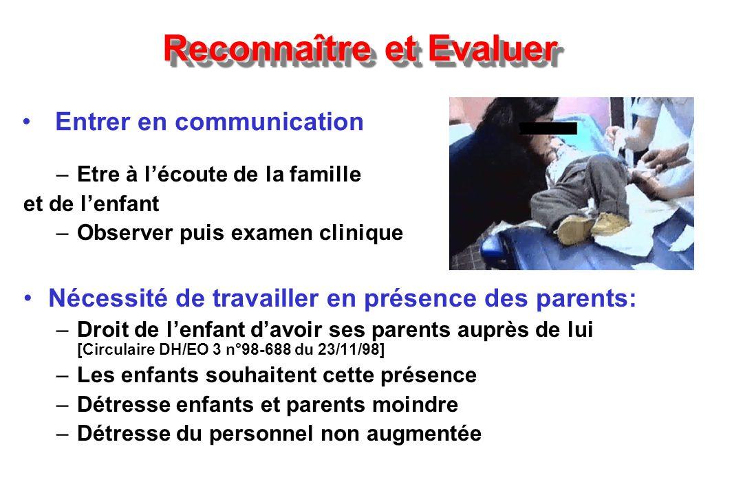 Reconnaître et Evaluer –Etre à lécoute de la famille et de lenfant –Observer puis examen clinique Nécessité de travailler en présence des parents: –Dr