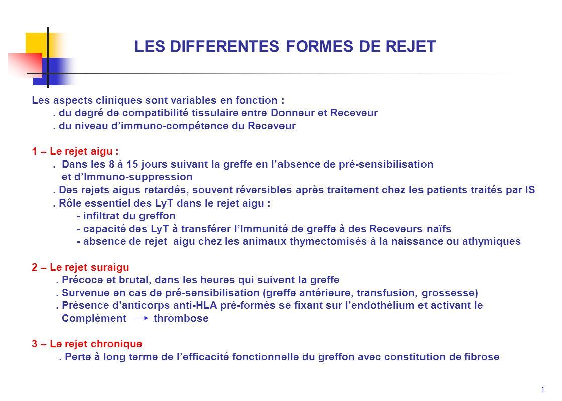 1 LES DIFFERENTES FORMES DE REJET Les aspects cliniques sont variables en fonction :. du degré de compatibilité tissulaire entre Donneur et Receveur.