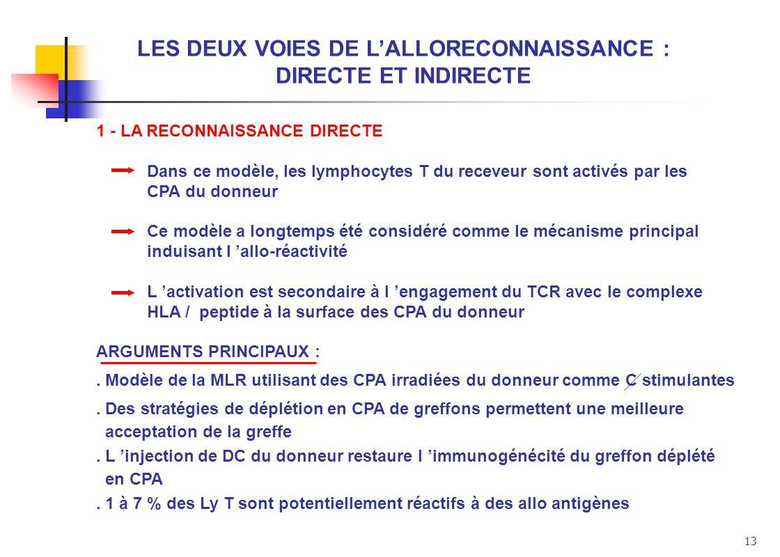 13 LES DEUX VOIES DE LALLORECONNAISSANCE : DIRECTE ET INDIRECTE 1 - LA RECONNAISSANCE DIRECTE Dans ce modèle, les lymphocytes T du receveur sont activ