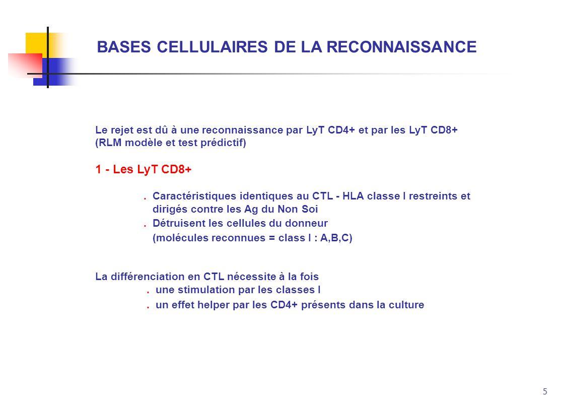 5 BASES CELLULAIRES DE LA RECONNAISSANCE Le rejet est dû à une reconnaissance par LyT CD4+ et par les LyT CD8+ (RLM modèle et test prédictif) 1 - Les