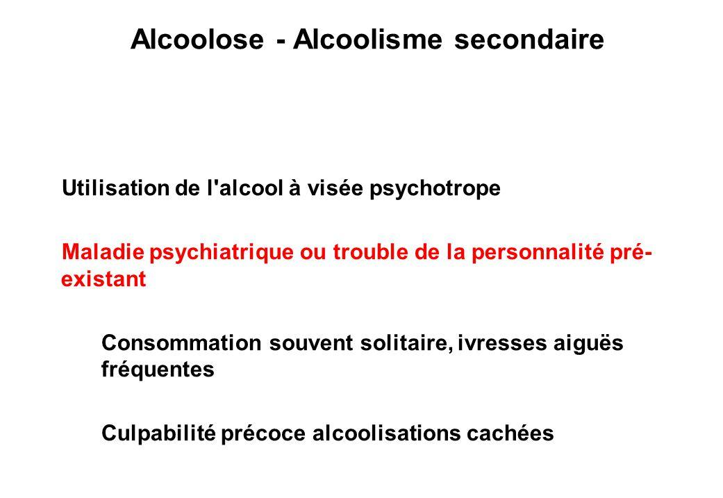 Alcoolose - Alcoolisme secondaire Alcoolisation de compensation - névrotique Utilisation de l alcool à visée psychotrope Maladie psychiatrique ou trouble de la personnalité pré- existant Consommation souvent solitaire, ivresses aiguës fréquentes Culpabilité précoce alcoolisations cachées
