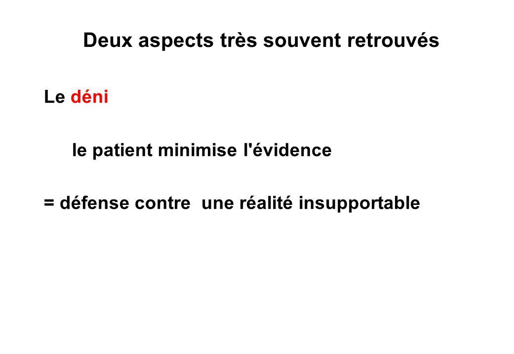 Deux aspects très souvent retrouvés Le déni le patient minimise l évidence = défense contre une réalité insupportable