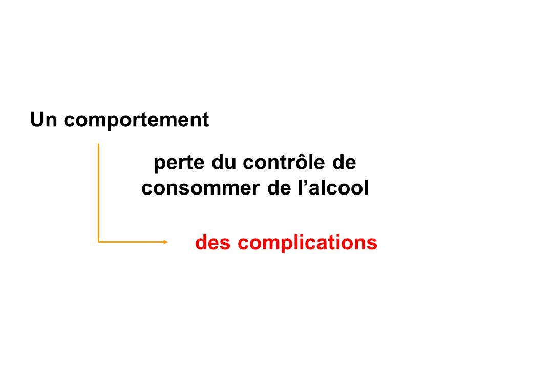 Un comportement perte du contrôle de consommer de lalcool des complications