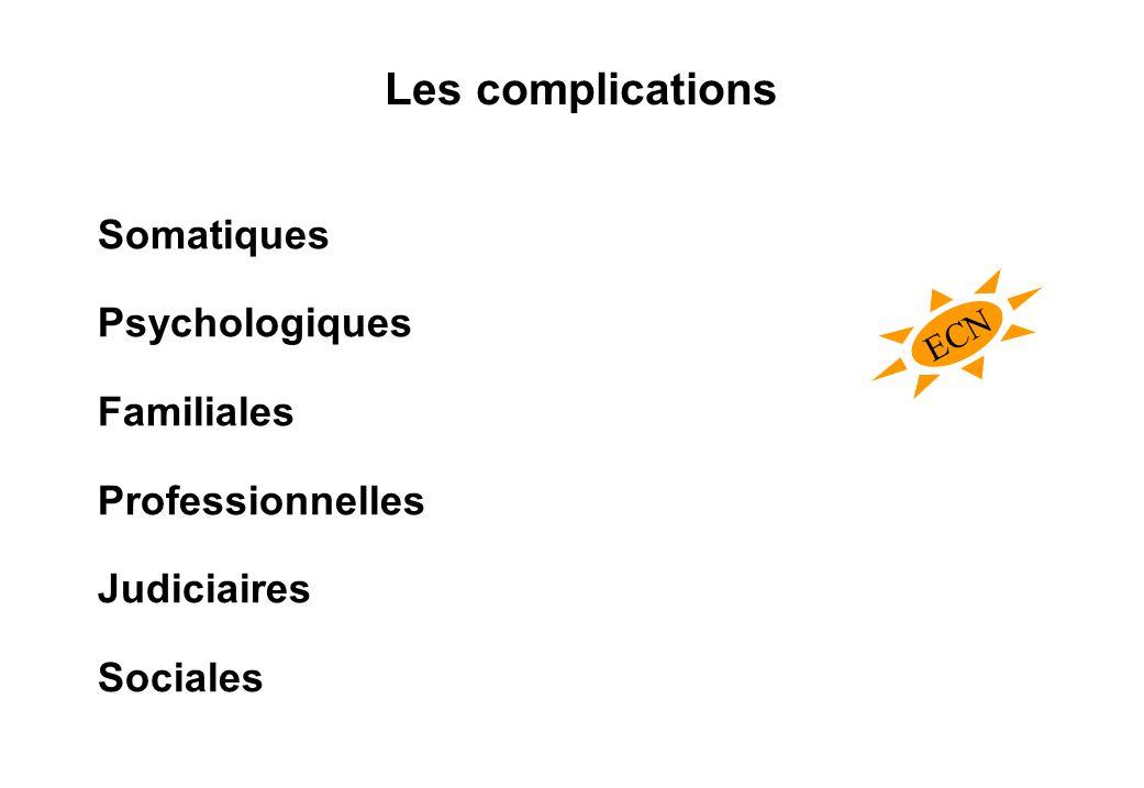 Les complications Somatiques Psychologiques Familiales Professionnelles Judiciaires Sociales ECN