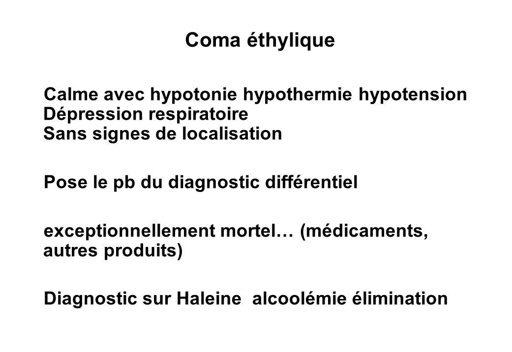 Coma éthylique Calme avec hypotonie hypothermie hypotension Dépression respiratoire Sans signes de localisation Pose le pb du diagnostic différentiel exceptionnellement mortel… (médicaments, autres produits) Diagnostic sur Haleine alcoolémie élimination